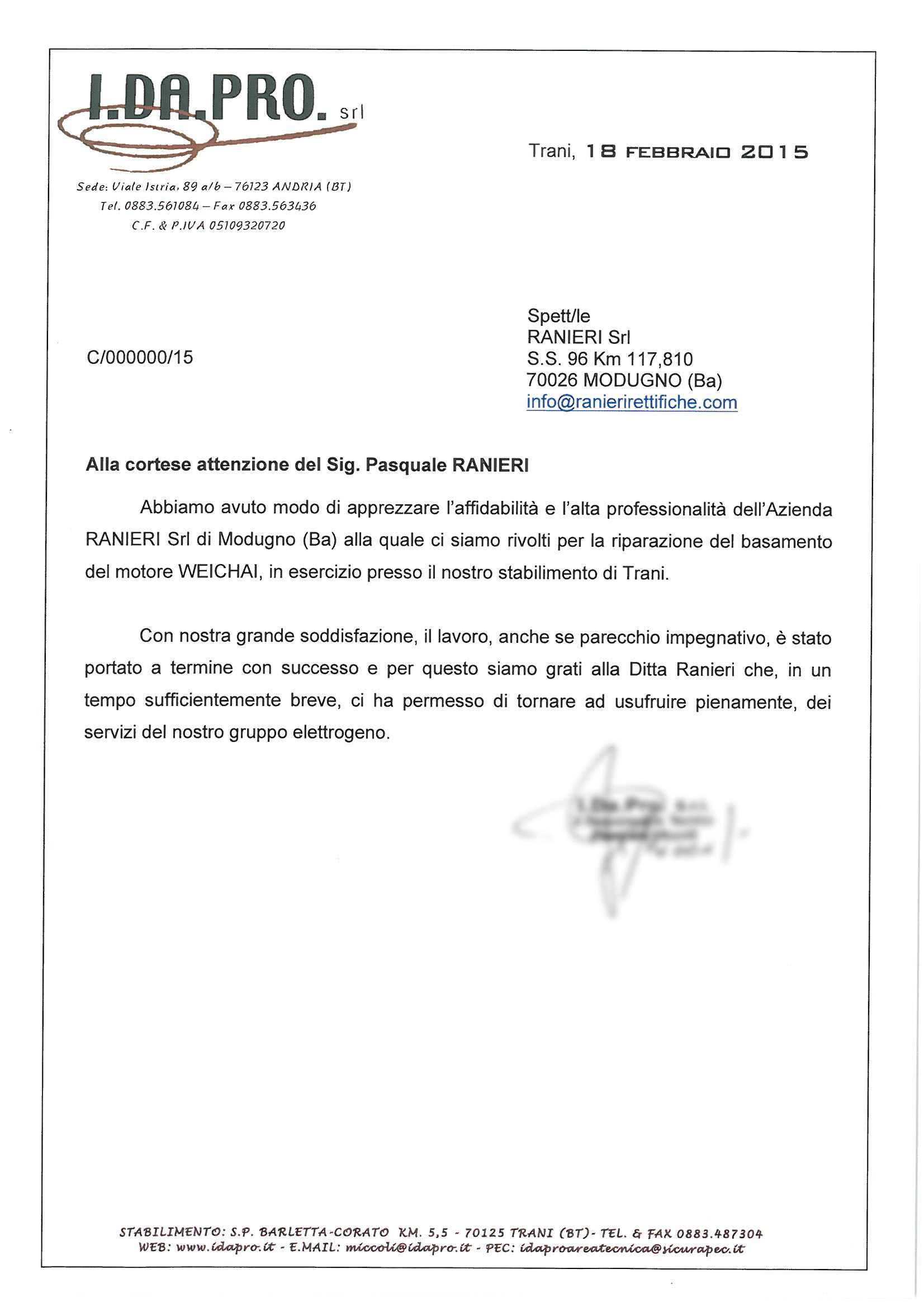Testimonianza per Ranieri Rettifiche per la riparazione del motore diesel Weichai di un gruppo elettrogeno